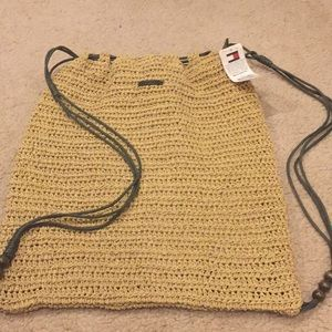 NWT Tommy Hilfiger Pull Tie Woven Straw Backpack